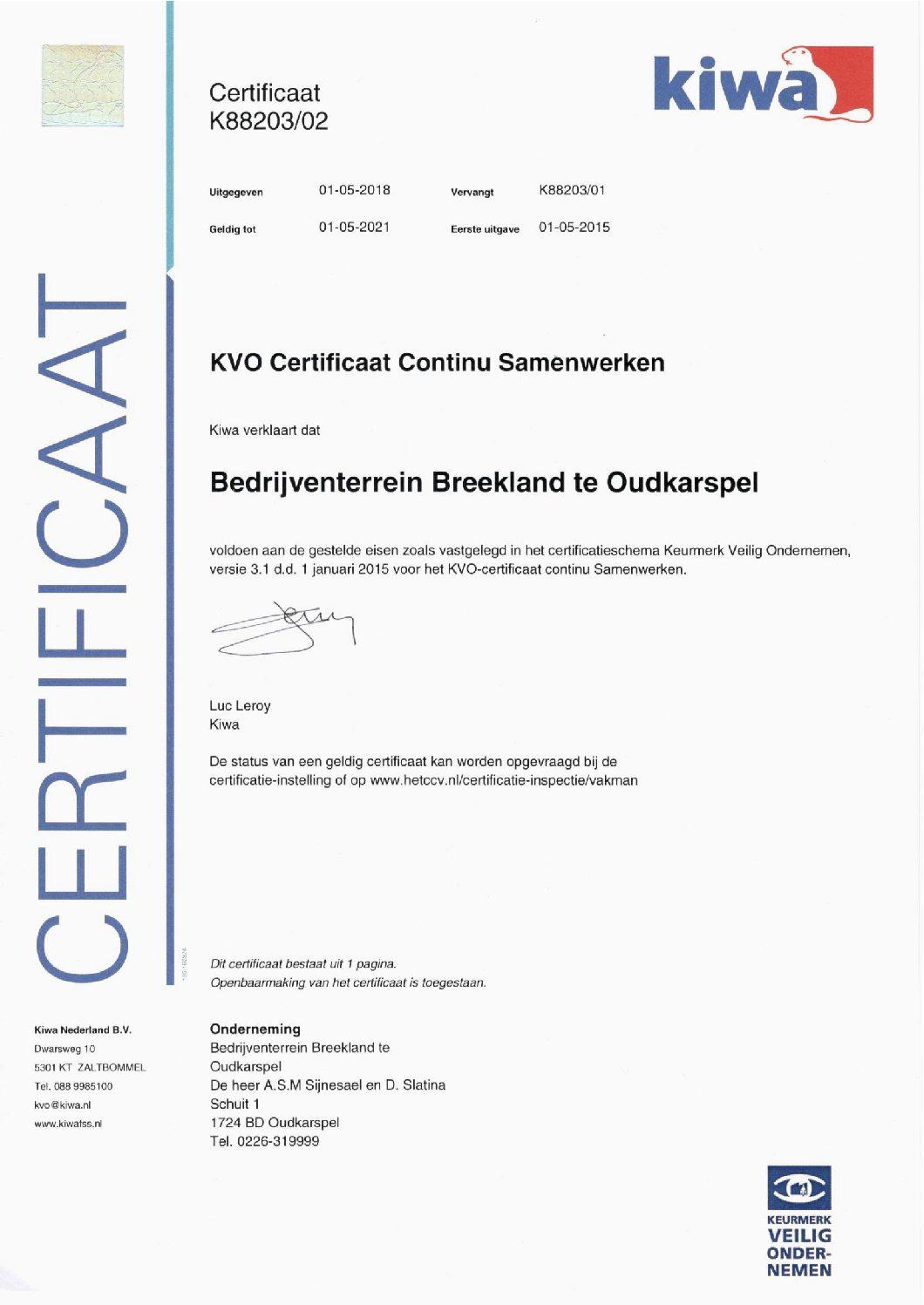 Certificaat Continu Samenwerken KVO ontvangen